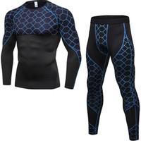 Mens Sports Running Set Compression Shirt with Pants Skin- Ti...