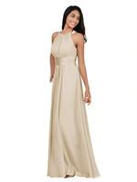 AW 신부 여성의 긴 들러리 드레스 보석 목 댄스 파티 드레스 겸손한 쉬폰 이브닝 정장 드레스