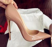 2018 New Women Black Sheepskin Nude Lackleder Poined Toe Frauen Pumps, 120mm Mode lRed Bottom High Heels Schuhe für Frauen Hochzeitsschuhe