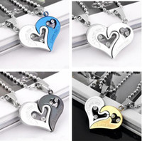 Wholesale Korean Jewelry Couple Necklace Pendant Heart- shape...