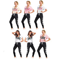 Summer Women PINK Letter Tracksuit stripe pink Yoga suits V ...