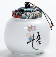 Tomada de fábrica mini porcelana caixas de armazenamento de chá preto selado elegante pintado à mão oolong latas de chá presente T48