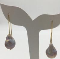 Envío gratis 2 opciones NUEVA Natural perla de agua dulce púrpura barroco 12 x16mm925 pendientes de plata
