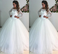 Hot Beach Tulle Ball Gown Wedding Dresses Long Sleeves Floor...