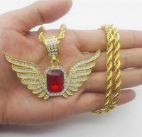regalo de collar superior Alas de ángel de Dios con gran collar colgante de piedra roja Hombres Mujeres Joyería helada
