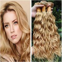 Bagnato ed ondulato # 27 offerte Blonde di miele peruviani umani trame dei capelli di estensioni Water Wave Virgin peruviano scuri capelli umani Bundle 3Pcs