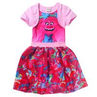 New Baby Girl Dress Bambini Girl little Trolls Abiti Cartoon Princess Party Costume Abbigliamento per bambini Abbigliamento estivo
