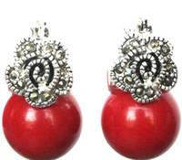 Pendientes de plata con cuentas de 925 mm Coral rojo flor de cuentas de envío gratis de señora 12