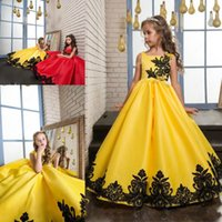 Black Lace Applique Flower Girl Dress SquareYellow A- Line Gi...