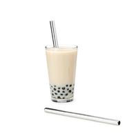 Écologique de qualité alimentaire facile à nettoyer super grand pailles thé au lait bulle de paille en acier inoxydable métal 12mm réutilisable