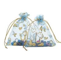 Presentes Sacos de corda jóias sacos Casos packageing Organza Sacos Coração Padrão presente Drawstring Todos Tamanho bolsas Bolsas presente do Natal