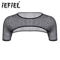 iEFiEL 패션 남성 망 메쉬 피시 넷 숄더 스트랩 하네스 근육 클럽웨어 퍼포먼스 제복 조끼 하프 탱크 탑