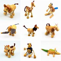 Animal Action Figures Toys cartoon Wood animal model dollls ...