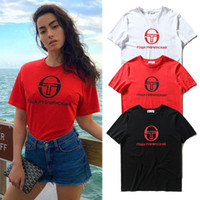 Unisex High Street T Shirts Russian Letters Printed Short Sl...