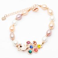 Мода очарование женские ювелирные изделия натуральный пресноводный жемчуг браслет 6-8 мм овальный жемчужный браслет оптом