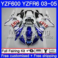 Karosserie Für YAMAHA YZF600 weiß blauer Rahmen YZF R6 03 04 05 YZFR6 03 Karosserie 228HM.17 YZF 600 R 6 YZF-600 YZF-R6 2003 2004 Verkleidungssatz