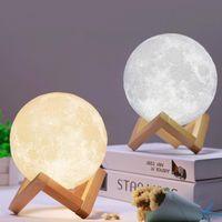 Ev Dekorasyon 3D LED Gece Büyülü Ay LED Işık Moonlight Masa Lambası USB Şarj edilebilir 3D Işık Renkleri basamaksız