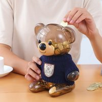 5PCS Lovely Children Coin Piggy Bank Bear Plastic Transparen...