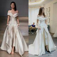 2018 Off-spalla Indumento Tuta da sposa con treno Custom Make Vestidos Festa Donna Moda abito da sposa Zuhair murad