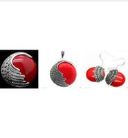 NEU Matched Damen rot geschnitzt Lack Markasit 925 Sterling Silber Ring (# 7-10) Ohrringe Pandent Schmuck-Sets