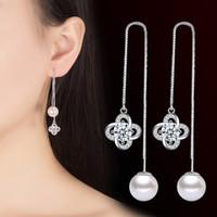 Perlen-Zircon 110mm Tropfen-Ohrringe für Frauen-Silber-Brincos-Ohr-Linie, die glückliche Blatt-Blume Ohrbögen-Schmucksache-Großverkauf earing ist