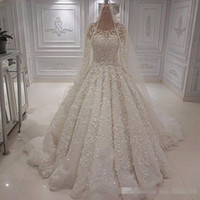 Long Sleeves Lace Wedding Dresses Sexy Jewel Neck Beaded App...