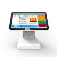 15 인치 모두 POS 현금 등록 듀얼 스크린 슈퍼마켓 지원 레스토랑을위한 듀얼 스크린 POS 시스템 소프트웨어 실행