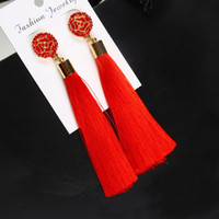 Red Tassel Earrings With Rose Flower Charm Stud Earrings Gol...