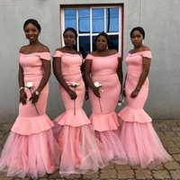 2019 Beautiful Long Mermaid Bridesmaid Dresses Pink Off the ...