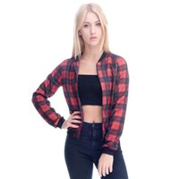 Femmes Bomber Jacket Rouge Tartan 3D Full Print Girl Taille libre Stretchy Casual Manteau court Lady Manches longues Digital Graphic Outerwear (GL36084)
