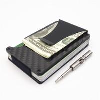 جديد الموضة معرف حامل سفر البسيطة rfid محفظة الرجال سليم حالة بطاقة الأعمال الذكور المال كليب محافظ صغيرة