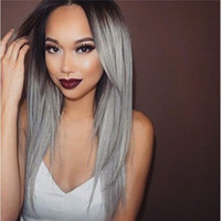 Silky Straight Hair Full Lace Wigs #gray Color Malaysian Rem...