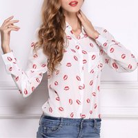 Large - size women' s dress shirts with long sleeve lips...