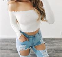Seksi Articat Kapalı Omuz Uzun Kollu T-Shirt Kadın Kırpma Üst Stringy Kenar Parti Büstiyer Kırpma Üst Elastik Tüp Kulübü Kadın Üst