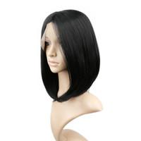 pelo corto resistente al calor bob negro recto negro sin cola cordón sintético peluca delantera parte media combsstraps
