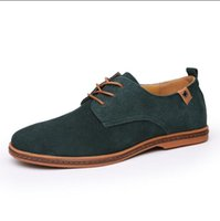 Hombres Zapatos casuales Suede Leathern respirable Pisos Lace Up Oxfords Zapatos Nuevo Low Social Chaussure Homme talla grande 39-47 a19