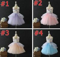 единорог ins дети летние платья для вечеринок девушки платья цветочные девушки Принцесса платья симпатичные день рождения дети платье свадебное платье Pettiskirt