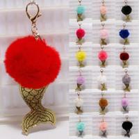 Kimter Fur Ball Mermaid Keychains Keyring 8cm Pompom Key Rings Charm Pendant Keyfob Keychain Fashion Accessories Women Xmas Gifts G252Q F