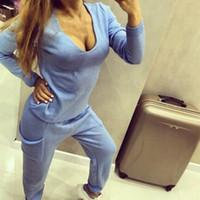 Novas Mulheres Treino Ocasional Duas Peças Conjunto de Malha Pulôver Blusas Tops Profundo Decote Em V Camisola de Manga Longa + Calças Conjuntos de Mulheres Por Atacado