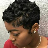 Бразильские волосы фронта шнурка для черных женщин человеческих волос парики Afro Малый Вьющиеся короткий бесклеевой парик человеческих волос Afro Kinky курчавый парик