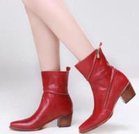 2018. способ женщин способа красные ботинки сексуальной гладиатор сапоги коробок каблук кожа лодыжка пинетка Женщина БОТ стиль ретро партия сапоги