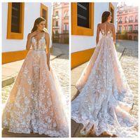 V-cuello de encaje Apliques 2018 vestidos de novia con tren desmontable País vestidos de novia más el tamaño por encargo Vestidos de mariage