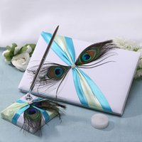 3pcs set wedding guest book + wedding signature pen + pen ho...