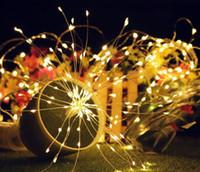 Батарея работает Декоративные светодиодные фонари 180led фейерверк в форме медного провода светодиодные строки свет с пультом дистанционного управления для свадьбы Рождественский сад