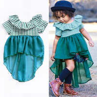 Neonate a coda di rondine dress backless verde reticolo lotus turn-down colletto in chiffon manica corta infantile del bambino principessa belle gonne
