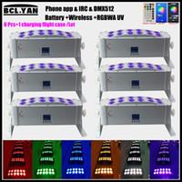 WIFI APP 무선 원격 DMX 제어 LED 파 RGBWA + UV Uplightings 12 * 18W 새로운 배터리 전원 무선 DMX Led 벽 세탁기