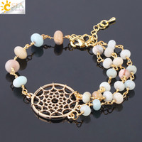 Csja Brand Original Fine Jewels for Women Natural Color Amazonite Gemstone Beadelet Dream Catcher Gold Indian Bangle F756