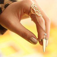 Prego amor dourado e prata tone liga protector de unha anel dedo falsificado dedo flor garra forma prego arte dedo anéis encantador