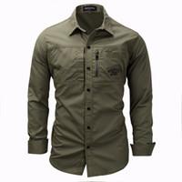 Nueva camisa de hombre militar para hombre de manga larga Slim Fit Camisa Masculina Khaki Army Green Shirt Camisa de alta calidad para hombre Envío gratis