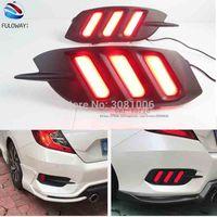 Honda Civic 10th 2016 için 2017 LED Kuyruk Işık Montaj Fren DRL Gündüz Farları Çok fonksiyonları Arka Tampon Fren Lambaları